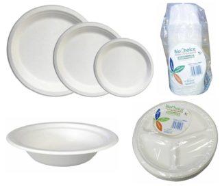 Savpac Bio Choice Sugarcane Plates & Bowls