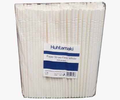 White Paper Flexi Straws 250pk